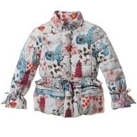 Girls Down Padded Pink Floral Jacket