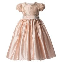 Peach Pink Silk 'Lily' Dress with Sequins