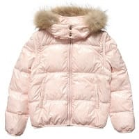 Pink Down Padded 2-in-1 Jacket with Fur Trim