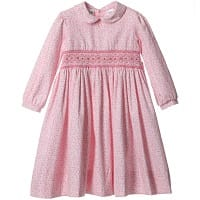 Pink Floral Hand Smocked Cotton Dress