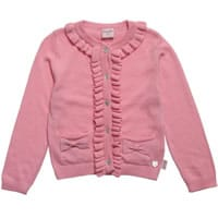 Pink Frilly Angora Blend Knitted Cardigan