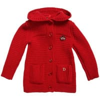 Red Hooded Cardigan with Tartan Crown Brooch