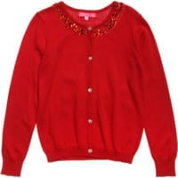 Red Knitted Jewelled Cardigan