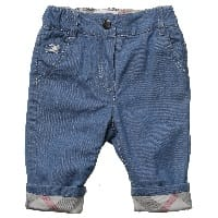 Baby Cotton Jeans with Check Turn-Ups