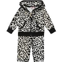 Baby Girls Black Leopard Velour Tracksuit