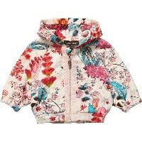 Baby Girls Pink Floral Jersey Zip Up Top