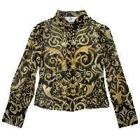 Girls Black and Gold Baroque Silk Blouse