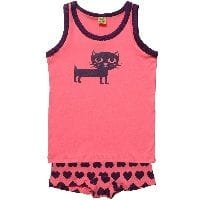 Girls Cat Print Pink Jersey Vest & Knickers Set