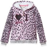 Girls Leopard Print Hooded Zip-Up Top