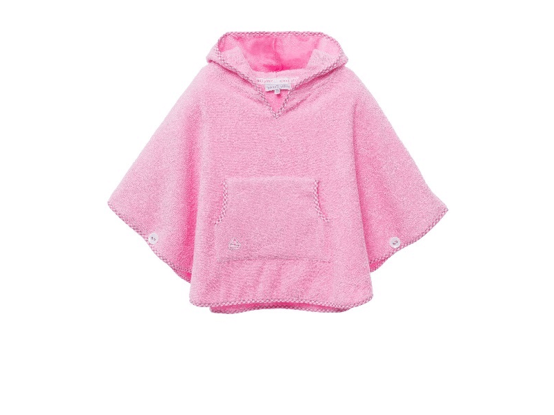 Girls Pink Towelling Poncho9.fw
