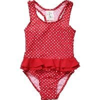 Girls Red Spotty Sun Protective Swimsuit