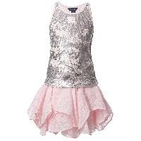 Girls Sequined Top and Linen Skirt Set