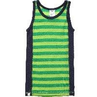 Green & Navy Blue Stripe Merino Wool Vest