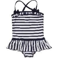 Navy Blue & White Striped Swimsuit