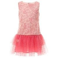 Pink Embroidered Dress with Tulle Skirt