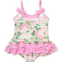 Pink Floral Swimsuit with Ruffles
