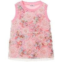 Pink Ruffle & Embroidered Sleeveless Top