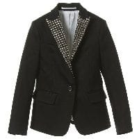 Boys Black Studded Tuxedo Jacket
