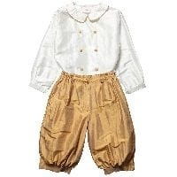 Boys Gold Silk Cropped Trousers and Shirt Set