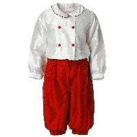 Red Silk Cropped Trousers and Shirt Set
