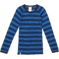 Blue Fine Stripe Merino Wool Thermal Top