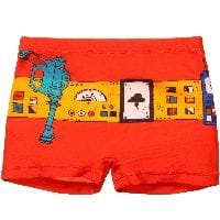 Boys Orange Superhero Swim Trunks
