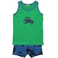 Boys Tractor Print Jersey Vest & Boxers Set