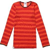 Coral Fine Stripe Merino Wool Thermal Top
